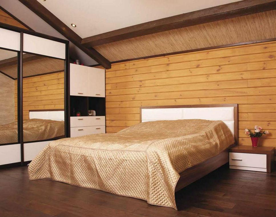 Облицовка спальни имитацией бруса