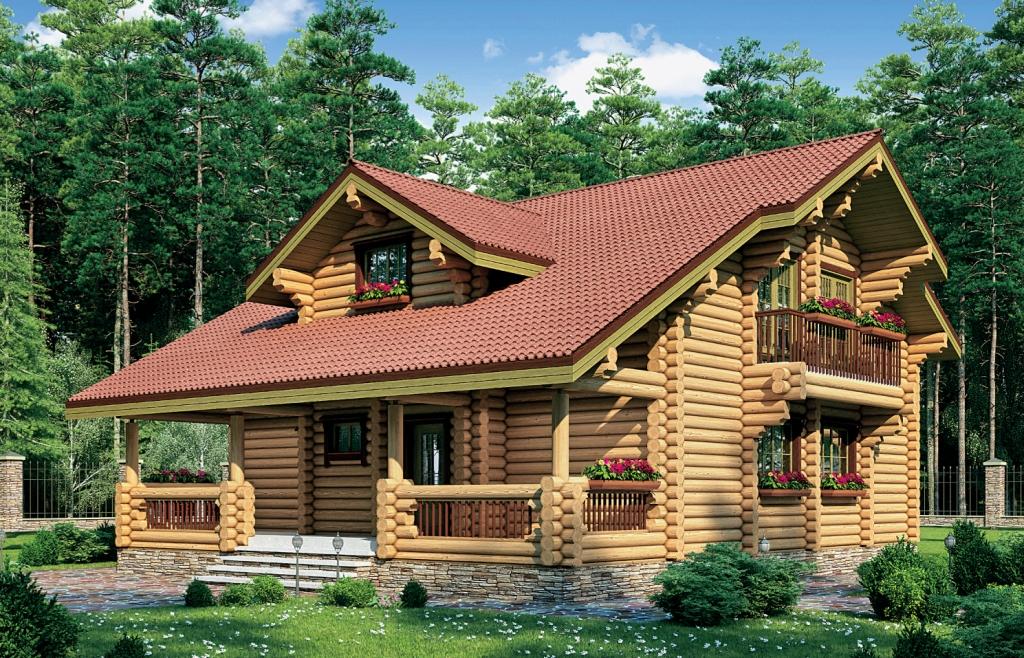Дом из оцилиндрованных бревен